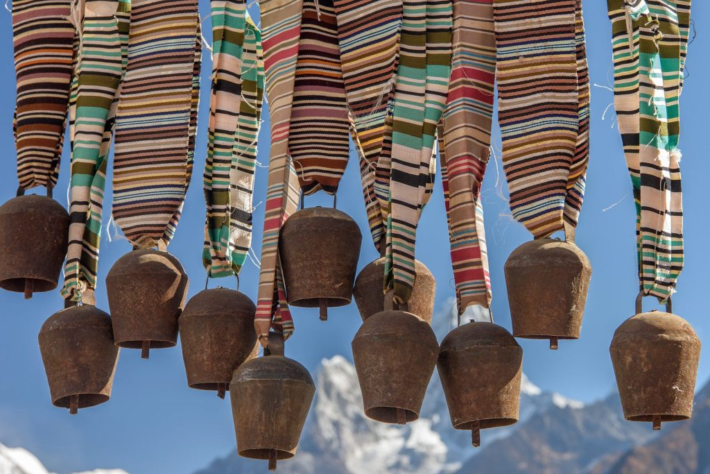Travel photography picture - cowbells with Himalya mountains in background